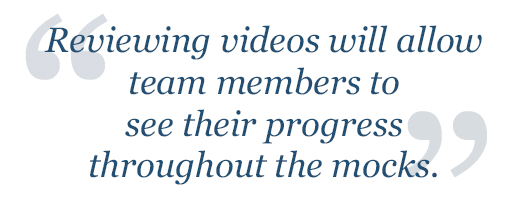 Reviewing videos will allow team members to see their progress.