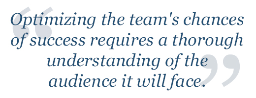 Optimizing the team's chances of success requires a thorough understanding of the audience.